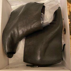 Nine West Black Peep Toe Wedge Heel Bootie Size 11